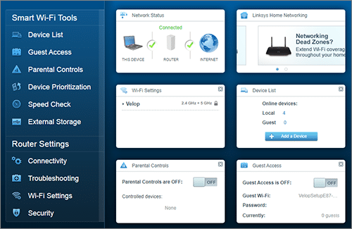 Linksys Dashboard Settings